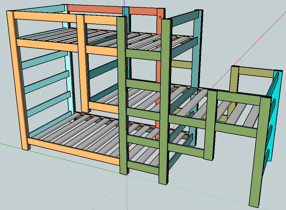 this triple bunk bed plan is a staggered design with the middle bunk ...